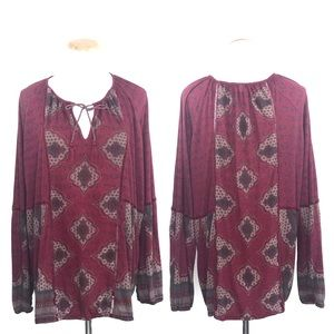Lucky Red Boho Print Peasant Blouse Top Size 3X